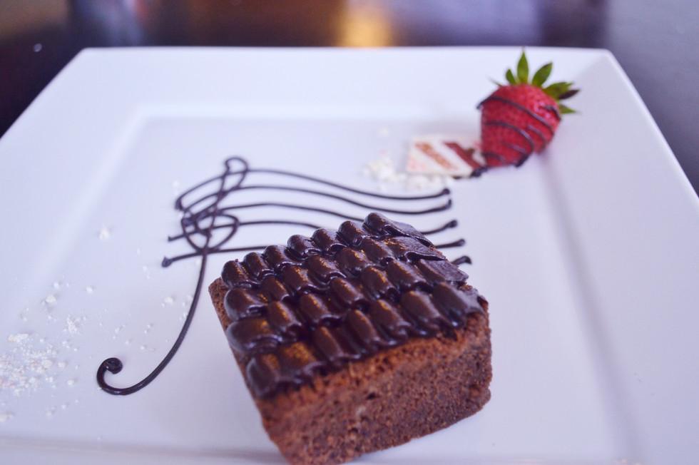 Dark Chocolate Brownies w/Cardamom Ganache