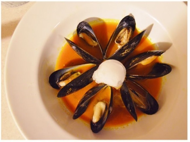 Mussels in Carrot Broth and Coconut Sorbet