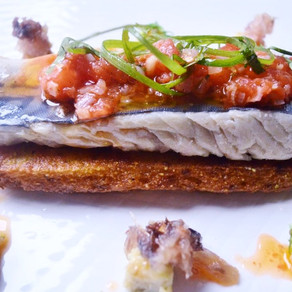 RECIPE: Mackerel with Fungee & Stewed Tomatoes