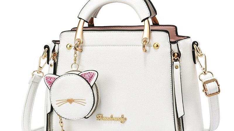 Pendant Metal Handle Solid Color Handbag Large Capacity Women Crossbody Bag