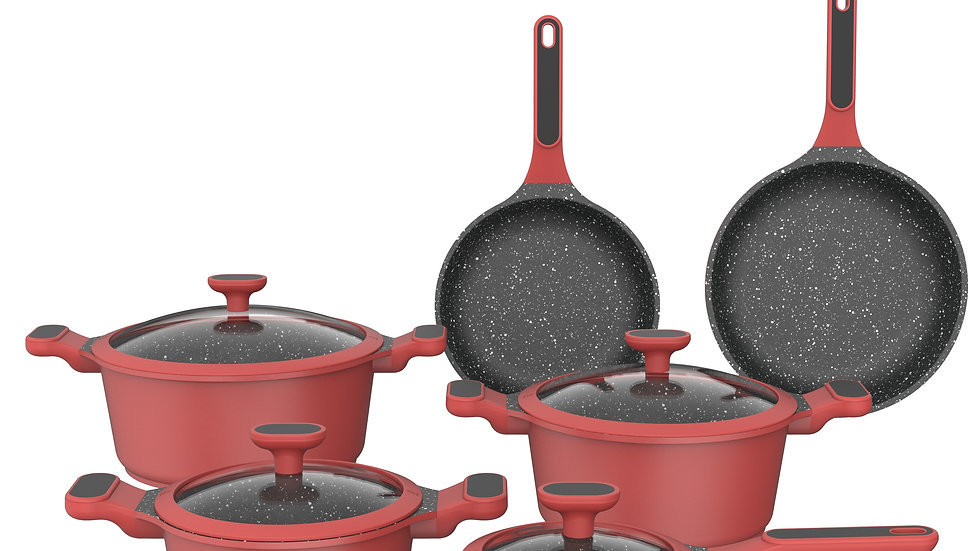 10pc  Cookware Nonstick Marble Coating Cast Aluminum Cookware Sets With Lid Red