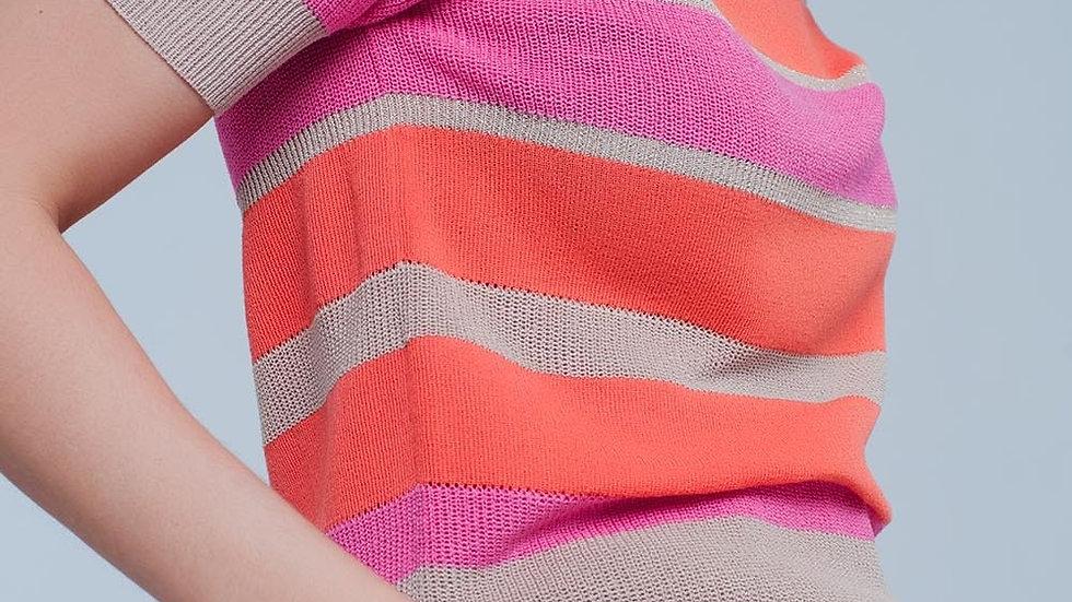 Orange Striped Open Knit Sweater Short Sleeves