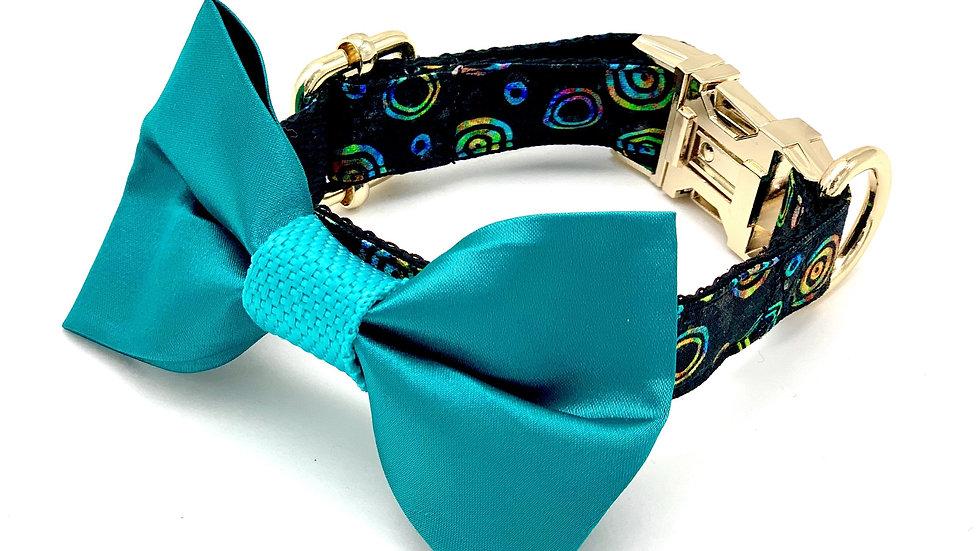Satin Turquoise Circle Collar & Bow Tie Set