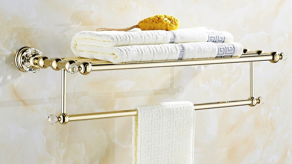 WALL MOUNTED  Crystal&Golden Towel Bar Towel Holder Product G154-01g