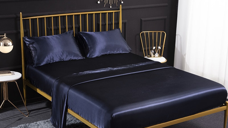 QUEEN KING EURO Double Satin Bed Linen Set 4 Piecs Bed Sheets and Pillowcases