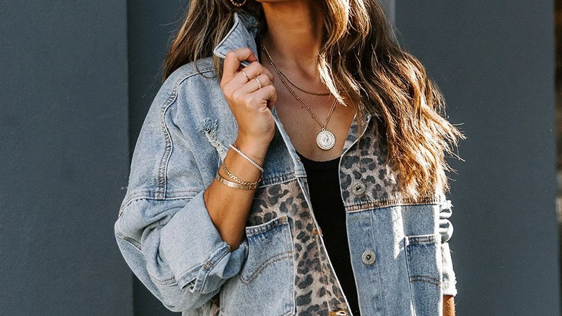LEPORD PRINT, Denim Jacket Ladies Retro Long Sleeve Jacket Fashion Chic Top