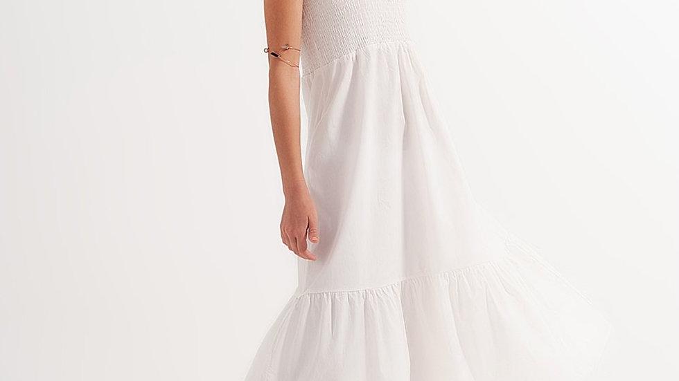 Shirred Midi Poplin Sundress in White