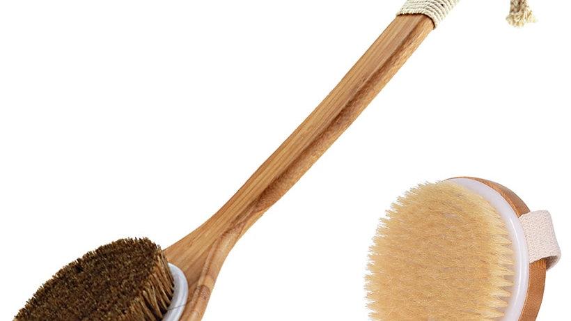 Natural Bristle Handle Natural Horse Mane Dry Bath SPA Massage Bristle Bath D30