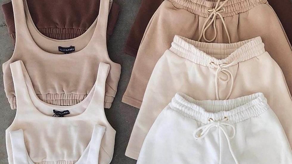 Cotton Crop Top Vest With Sweat Shorts Two Piece Pants Set Short Outfit