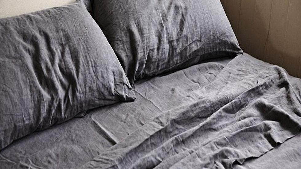 Sheet Double Bed Flat Sheets Bed Linen Sheets Flax Linen Bedding 180x275cm Gray