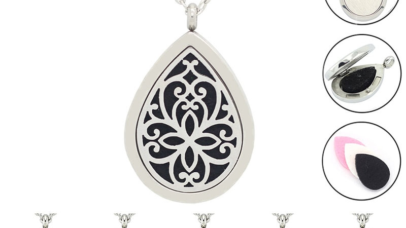 AROMATHERAPY DIFFUSER Stainless steel Necklace  Pendant Necklace for Women
