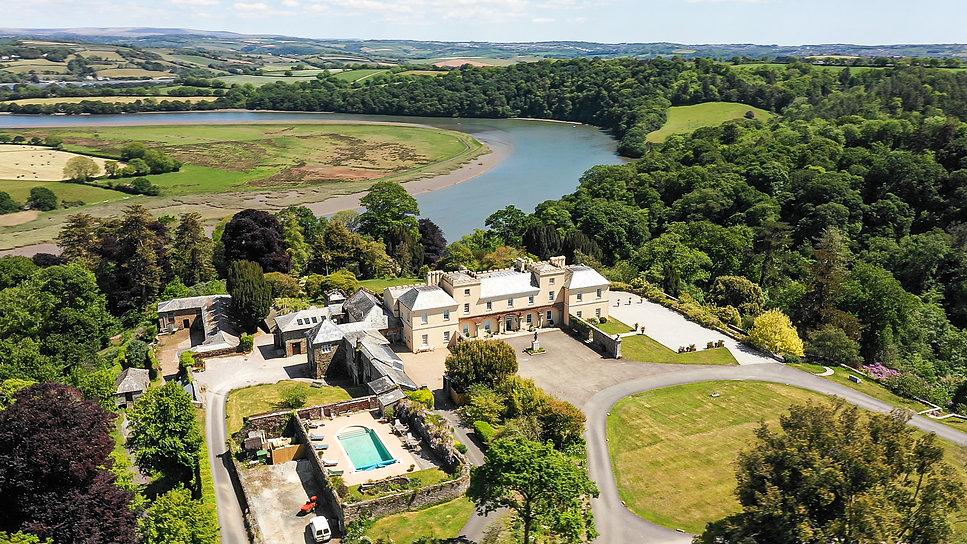 Aerial view of Pentillie Castle & Estate