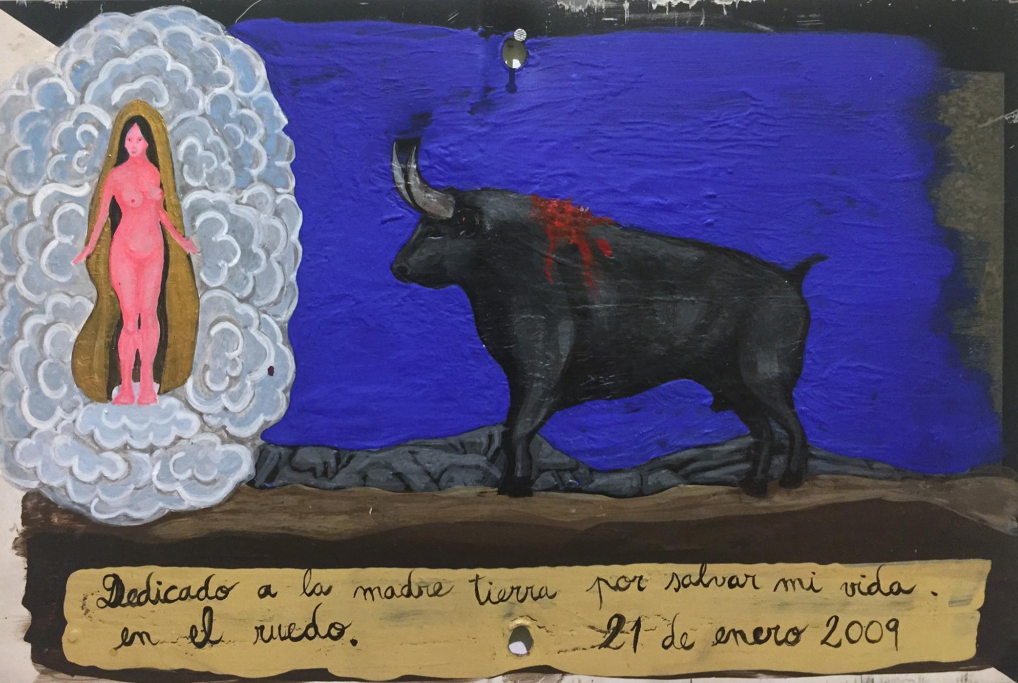 """""""Milagro en el Ruedo"""", 30 X 20 cm.,Técnica Mixta sobre lamina de metal, 2018."""