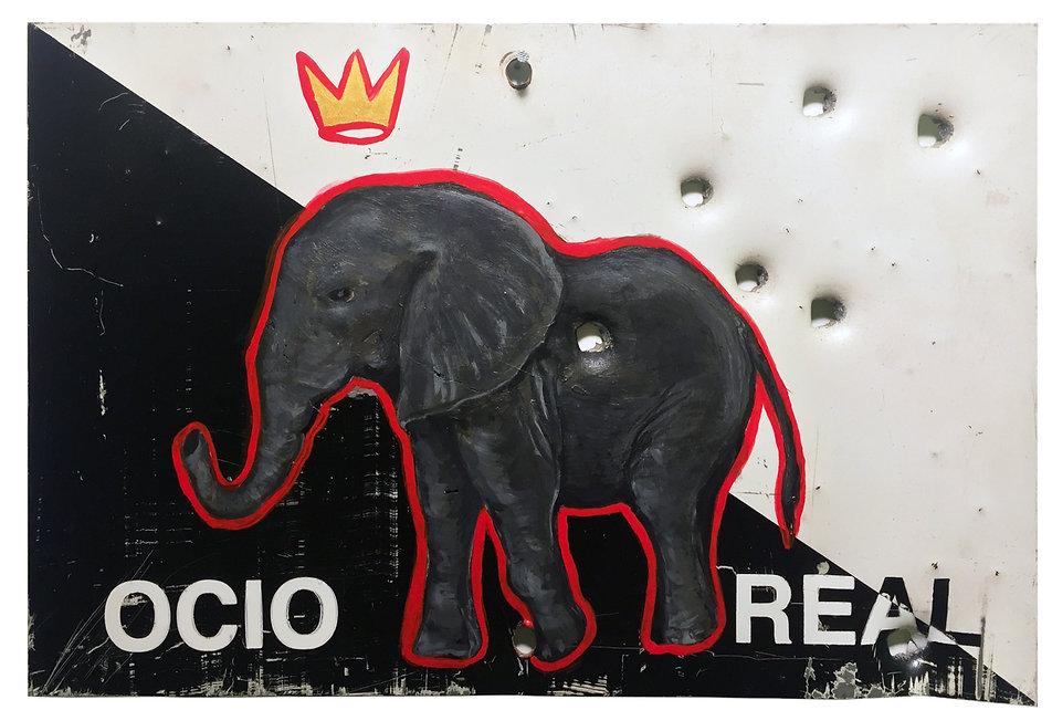 """""""Ocio Real"""", 30 X 20 cm, Técnica Mixta sobre lamina de metal, 2018."""