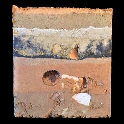 """""""Polvos"""", Tapial, 16 X 16 X 16 cm., 2018."""
