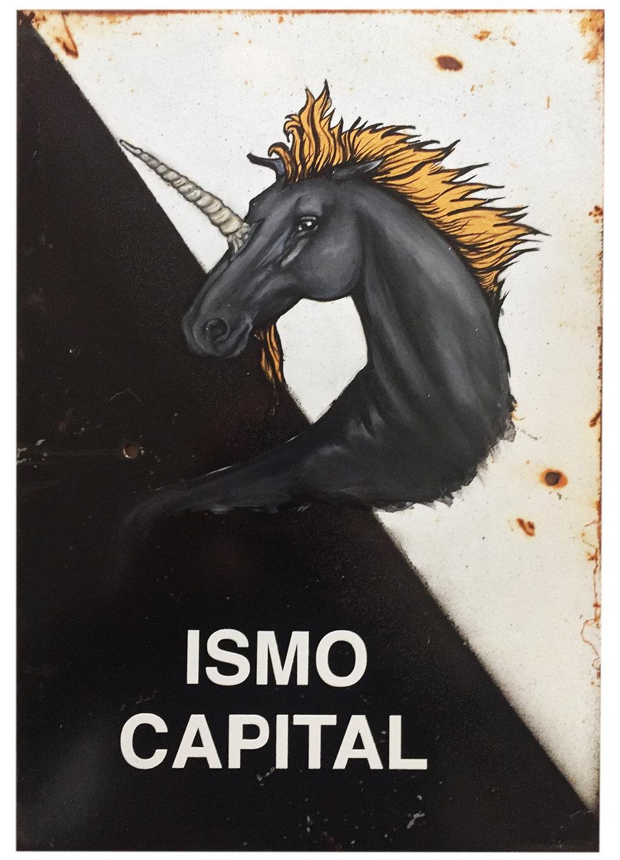 """""""Ismo capital"""", 30 X 20 cm.,Técnica Mixta sobre lamina de metal., 2020."""