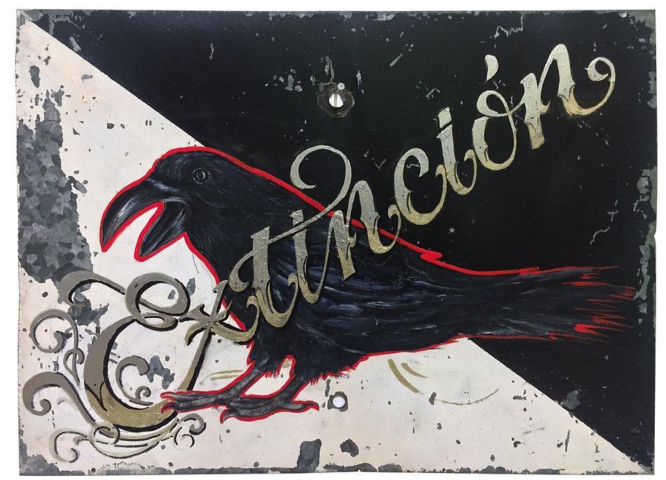 """""""Extinción', 33 X 24 cm., Técnica Mixta sobre lamina de metal, 2018."""