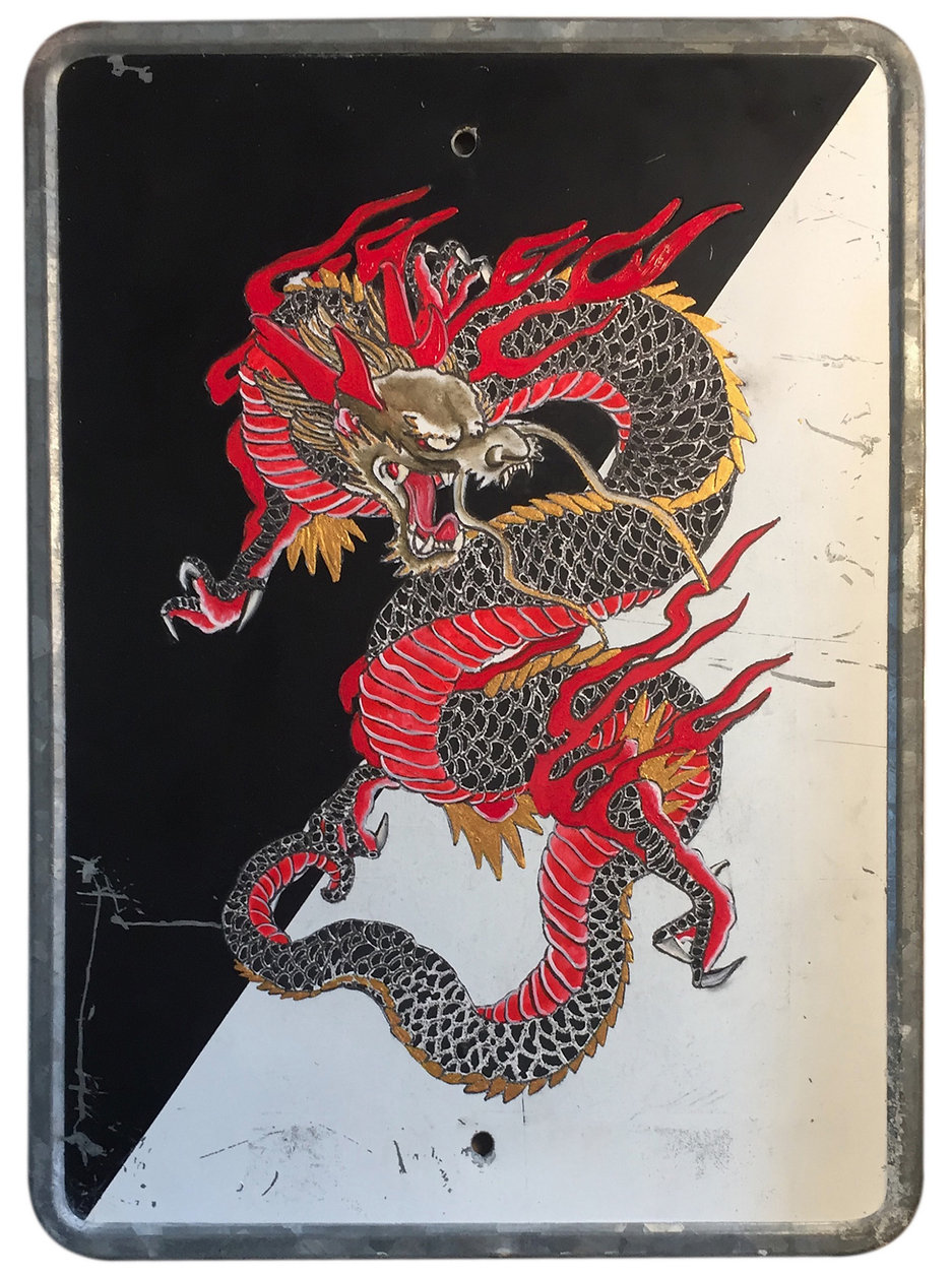 """Red Dragon"", 30 X 20 cm.,Técnica Mixta sobre lamina de metal., 2020."
