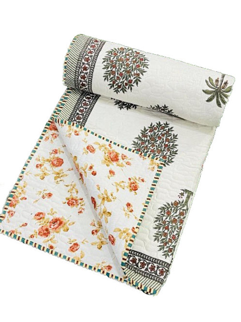 Red bushes hand block printed quilt