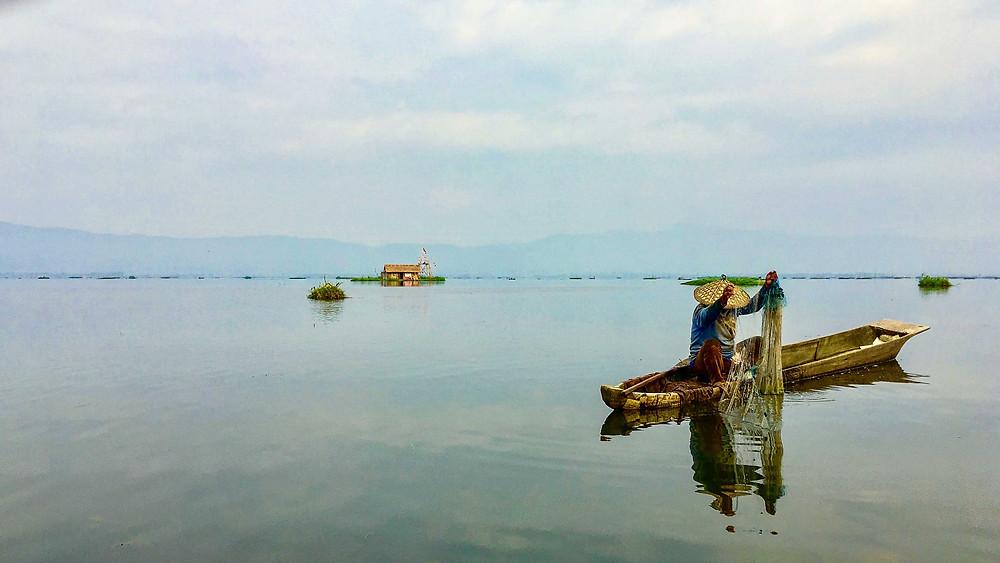 A Meitei on Loktak Lake submerging his fishing net