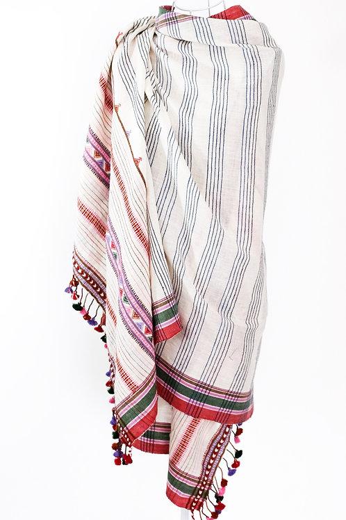 Grey & Pink Kala Cotton Shawl