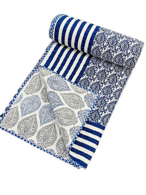 Blue hand block printed quilt