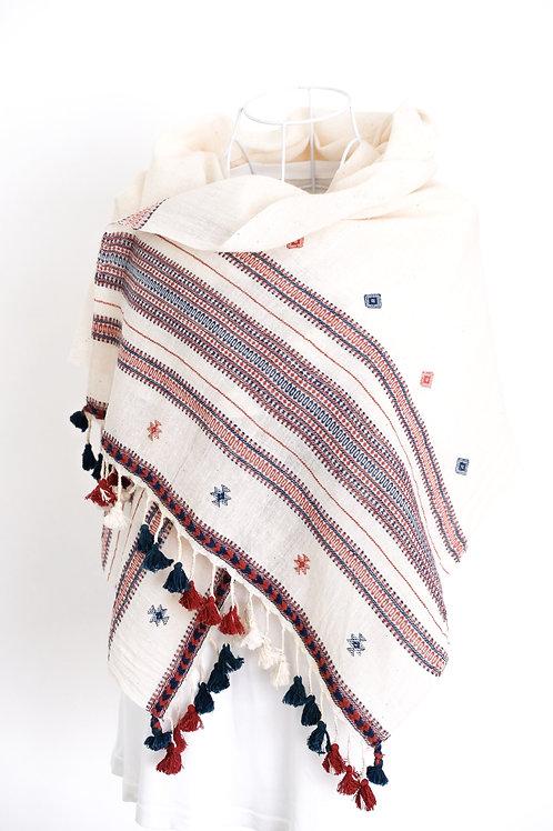 Red & Blue Border Cotton Shawl