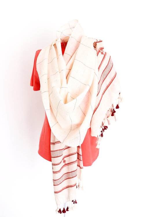Red Stripe on Cream Cotton Shawl