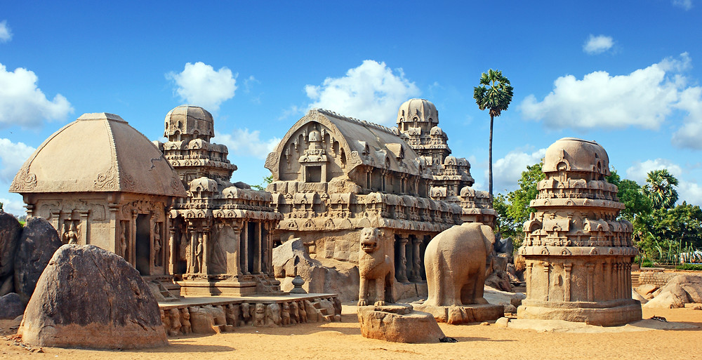 Shore and Rock cut Temple overlooks the Bay of Bengal at Mahabalipuram and dates back to the 8th century AD