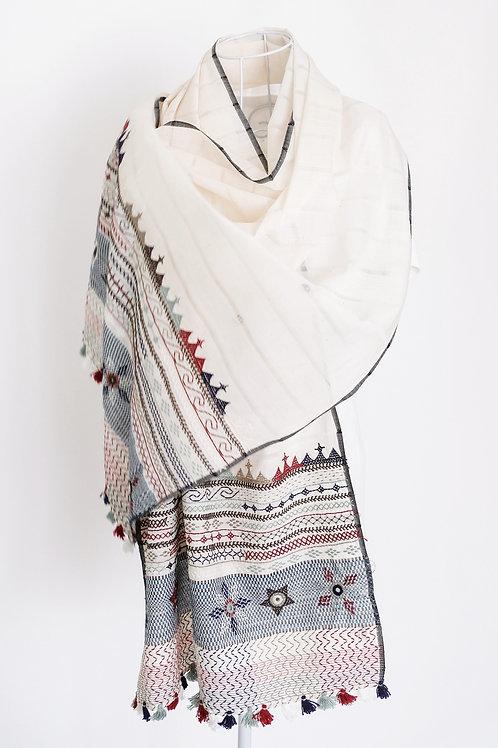 White Lambani Embroidery Stole