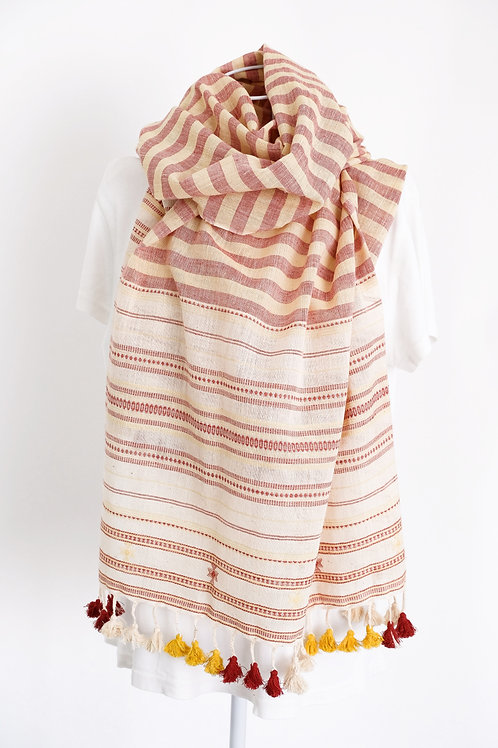 Red & Yellow Striped Cotton Shawl