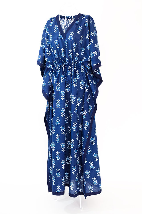 Block Printed Blue & White Flower Kaftan