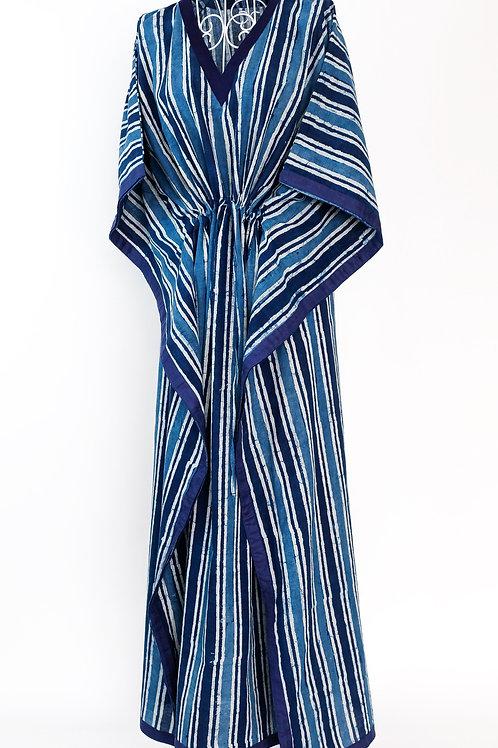 Block Printed Blue & White Striped Kaftan