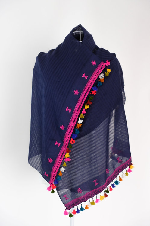 Blue and Pink Gujarati Cotton Stole