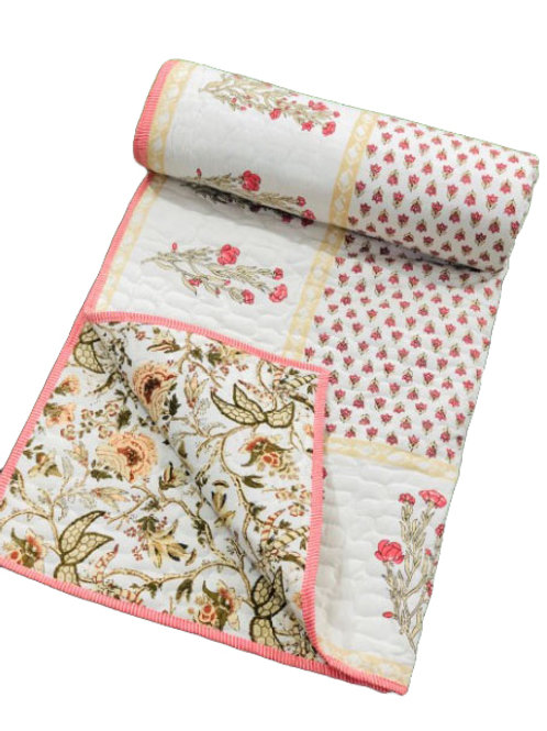 Pink wild flowers hand block printed quilt