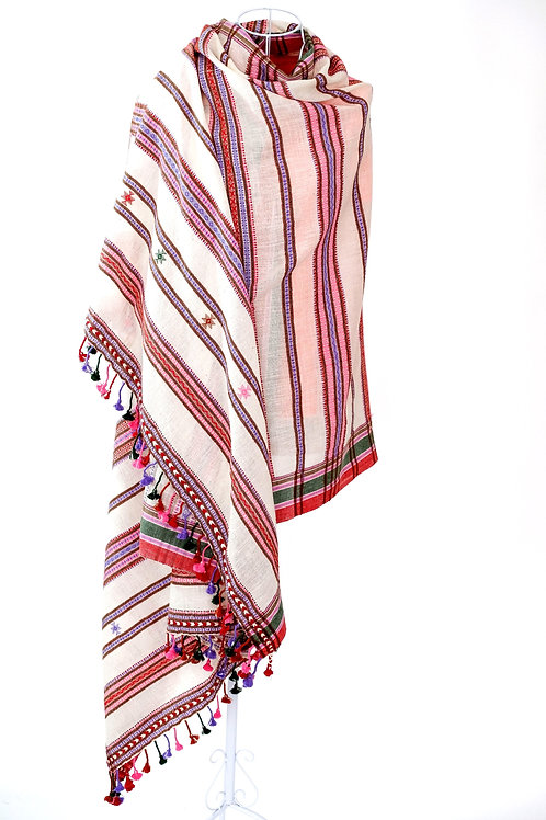 Pink and Red Kala Cotton Shawl