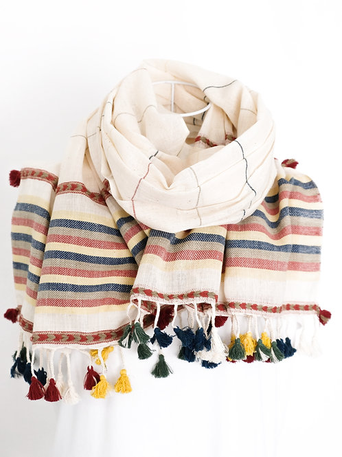 Finely Striped Cotton Shawl
