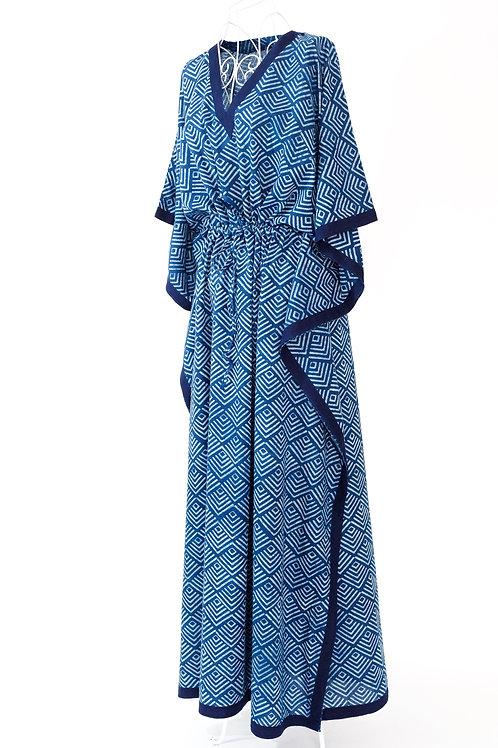 Block Printed Blue & White Kaftan