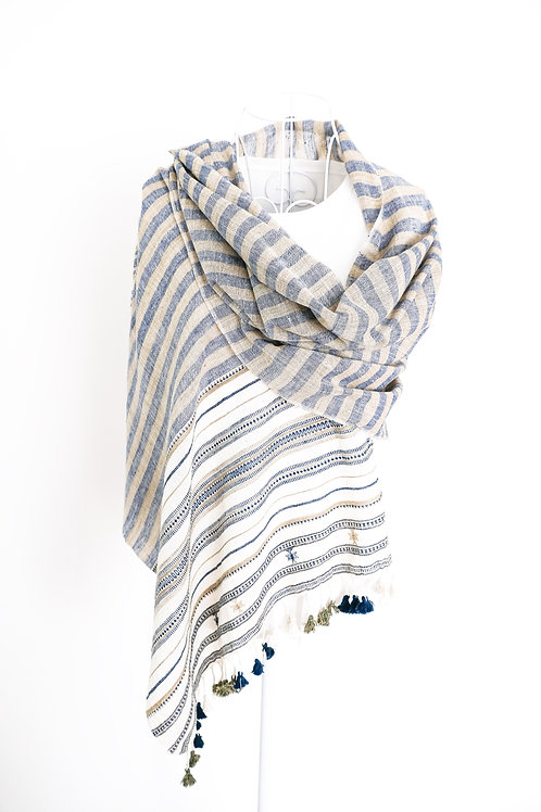 Blue & Toupe Striped Cotton Shawl