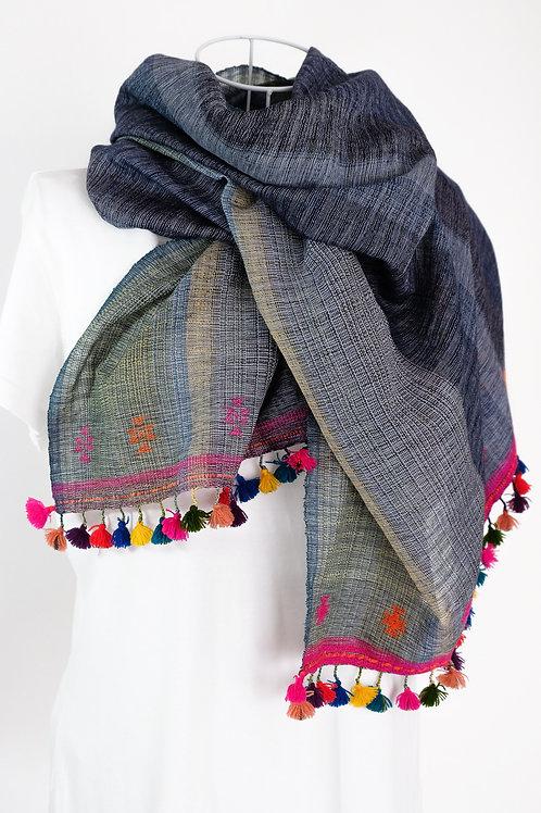 Violet Blue Gujarati Cotton Stole