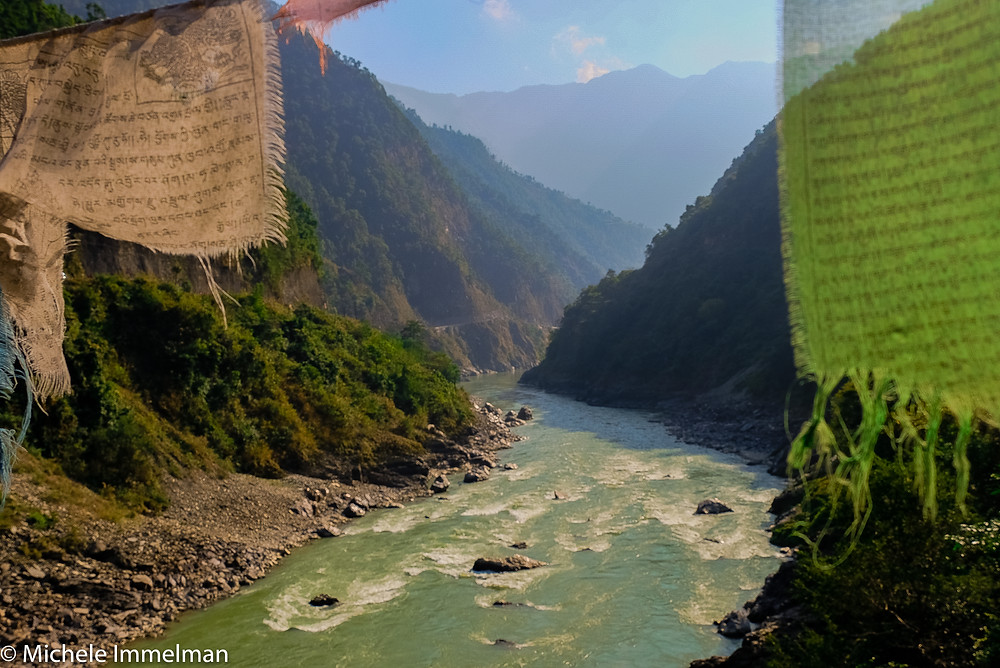 River flowing between two mountains - Nepal