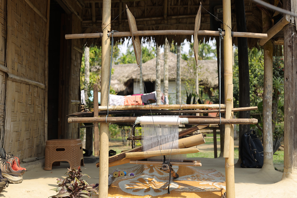 A typical handloom setup in a village in Assam