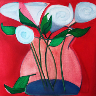 """Red Flowers, 46"""" x 46"""";  Mark Barry"""