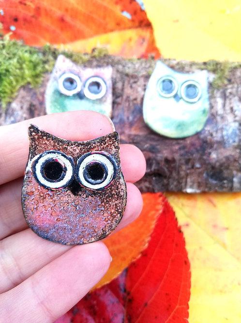 Owl Enamel Brooch