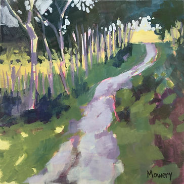 This is a landscape painting by American artist Barb Mowery that links to a gallery of her paintings from 2016 and 2017.