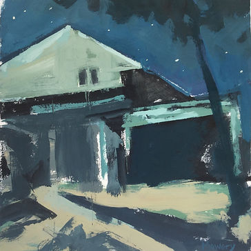 "This is a night landscape painting by American artist Barb Mowery called ""Borrowing from Fred."" It links to a gallery of paintings made in 2019."