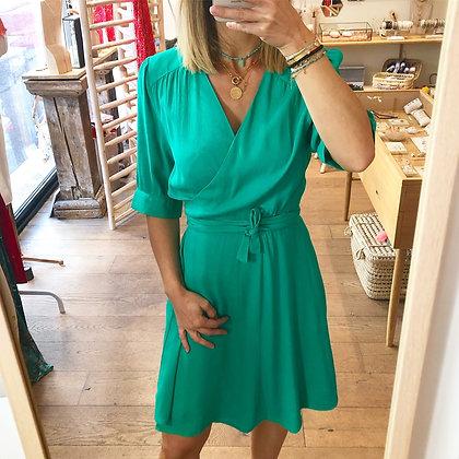 Robe courte vert flashy