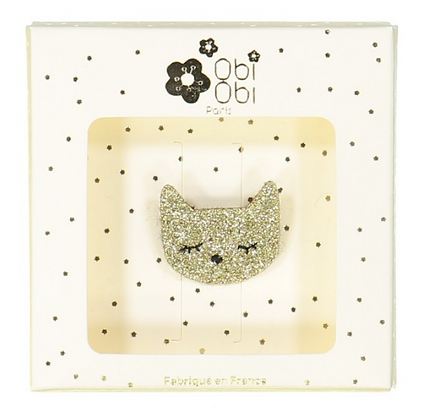 Broche chat doré