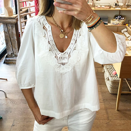 Blouse coton broderies Lila