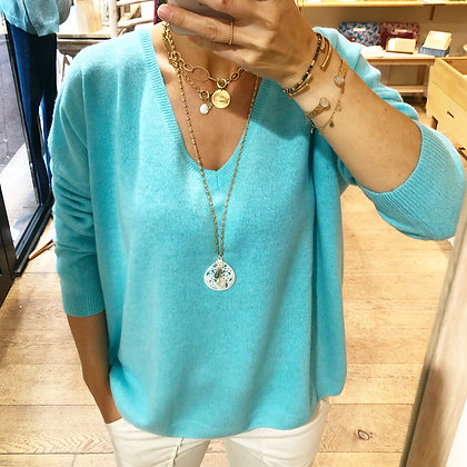 Pull 100% cachemire turquoise
